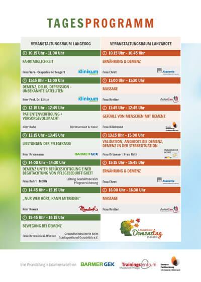 Tagesprogramm vom ersten Osnabrücker Demenztag